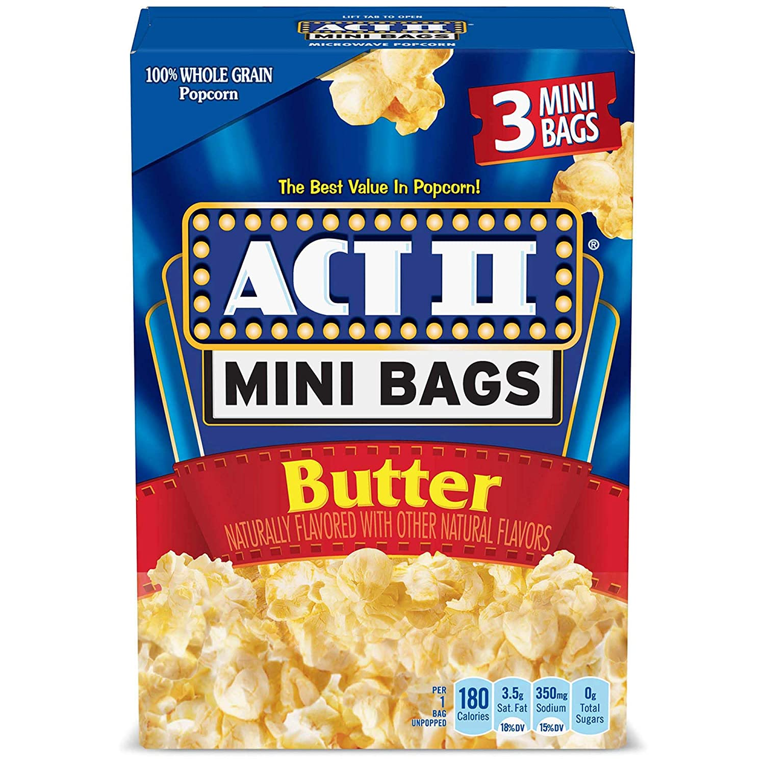 ACT II Butter Microwave Popcorn, 3-Count, 1.6-oz. Mini Bags (Pack of 12)