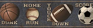 Chesapeake TOT46313B Slam Dunk Navy Sports Toss Wallpaper Border