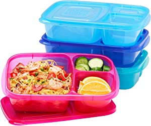 EasyLunchboxes - Bento Lunch Boxes - Reusable 3-Compartment Food Containers for School, Work, and Travel, Set of 4, (Jewel Brights)