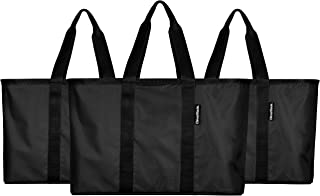 CleverMade SnapBasket Reusable Grocery Shopping Bag - Large Eco-Friendly Durable Collapsible Tote with Reinforced Bottom, Black/Black, 3 Pack