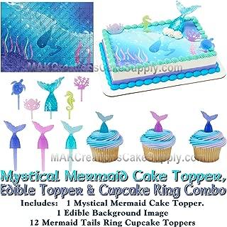 Mystical Mermaid Cake Topper Set, Edible Image Background & 12 Mermaid Tail Cupcake Pic Combo