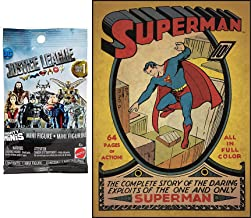 Mighty Super Man Hero Pack Mini Figure Justice League Minis Blind Bag Bundled with Large Poster Decal Comic Book Cover - Superman Issue #1 Peel & Stick Comic Book Wall / Room Cover 2-Items