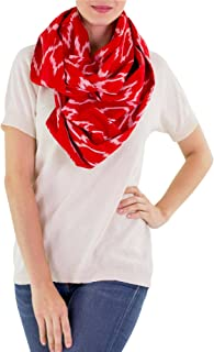 Red and White 100% Cotton Infinity Wrap Scarf, Ruby Maya'