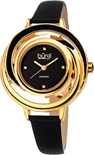 Burgi Leather Women's Watch - BUR210 Slim Leather Strap - Three Hand Movement with Diamond Markers - Floating Enamel Dial - Round Analog Quartz - BUR210