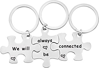 bobauna We Will Always Be Connected Puzzle Keychain Set of 3 Long Distance Gift for Best Friends Sisters