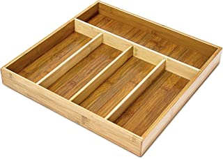 Relaxdays Bamboo Kitchen Drawer Insert Organiser 5 Separate Compartments, Wood, Brown