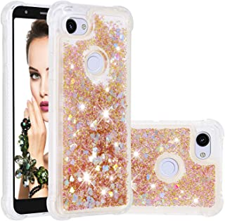Google Pixel 3a XL Case, ZERMU Shockproof Clear Colorful Heart Pattern Waterfall Fushion Moving Liquid Sparkling TPU Bumper Luxury Bling Quicksand Flowing Floating Glitter Cover for Google Pixel 3a XL