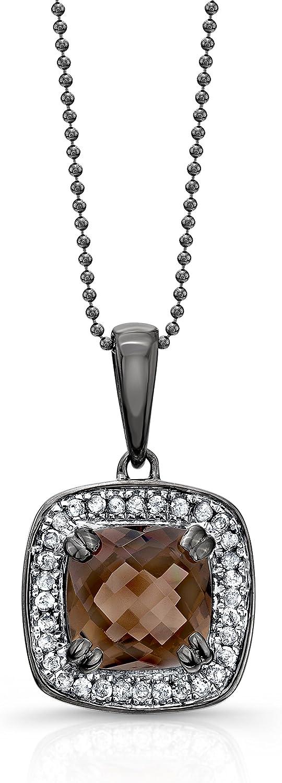 1 5ct White Diamond and 2ct Smokey Quartz Halo Pendant in Sterling Silver with Black Rhodium, 18