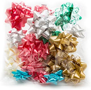 Hallmark Holiday Bow Assortment (20 Bows: 2 Sizes, 6 Colors) in Red, Green, Cream, Silver, Gold, Blue