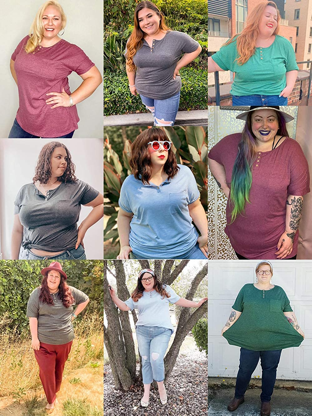 VISLILY Womens Plus-Size Tops Summer Henley Shirts Buttons up Blouses with Pocket