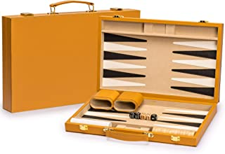 Yellow Mountain Imports Leatherette Backgammon Game Set, Konya - 15 Inches - Wooden Checkers and Accessories
