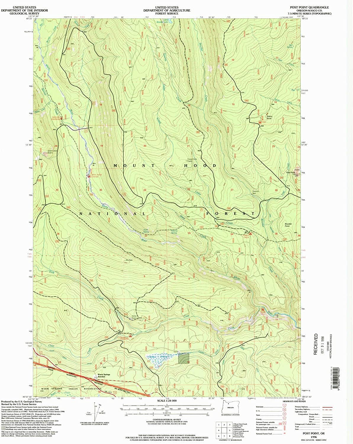 Post Point OR topo map, 1 24000 Scale, 7.5 X 7.5 Minute, Historical, 1996, Updated 1998, 26.8 x 22 in