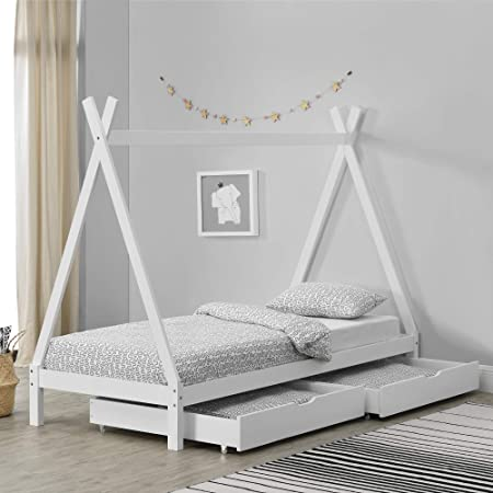 en.casa Kinderbett Matratze 90x200cm Ausziehbett Tipi Indianer Bett Kiefer Holz