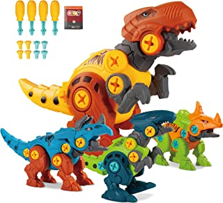 KizFav Take Apart Dinosaur Toys for Kids Ages 3-7, Pack of 4 Dinosaurs with Screwdrivers, Dino Kids Learning Toys, STEM To...