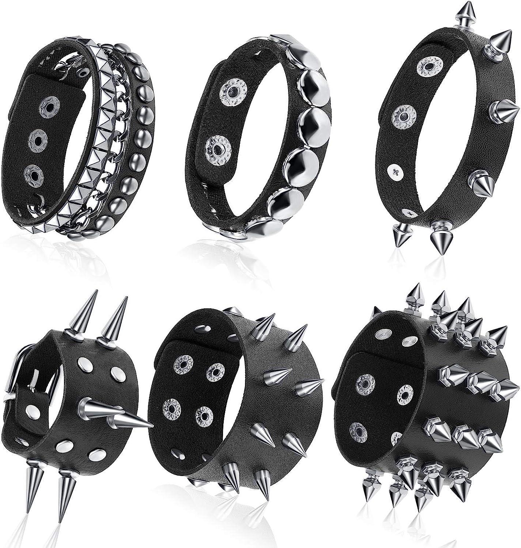 Hicarer 6 Pieces Punk Studded Bracelet Rivets Bracelet Leather Rivets Bracelet Cuff