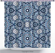American Shower Curtain/Abstract Islamic Pattern, Arabian Style. Seamless Background, Persian Batik Design, Boho Motif/Bathroom Accessories/with Hooks / 72W X 72L Inches