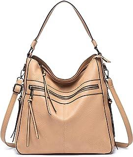 Roulens Damen Handtaschen Groß Shopper Lederhandtasche Schultertasche Umhängetasche Hobo Damen Taschen Aprikose