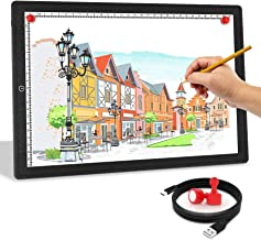 A4 LED Light Box,Golspark Ultra-Thin Portable Light Pad with Touch Dimmable Brightness Artcraft Tracing Light Table,USB Powered Light Board Kit for Students,Artists Drawing(Black)