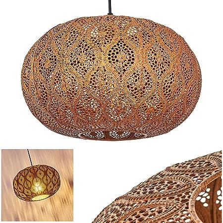 Suspension Kemer en métal couleur rouille, élégante lampe pendante rétro-orientale idéale dans un salon vintage, Ø 30cm, max. 124 cm, pour 1 ampoule E27 max. 60 Watt, compatible LED