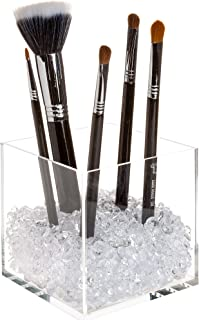Pretty Display Makeup Brush Holder Organizer with Beautiful Diamonds - Premium Acrylic Cube with 2 Sizes of Clear Crystal Beads for Extra Sparkle
