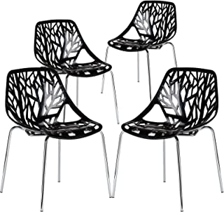 Poly and Bark Modern Mid-Century Birds Nest Dining Side Chair in Black with Chrome Legs (Set of 4)