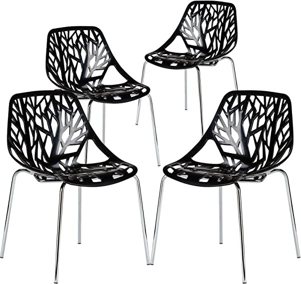 Poly And Bark Modern Mid Century Birds Nest Dining Side Chair In Black With Chrome Legs Set Of 4