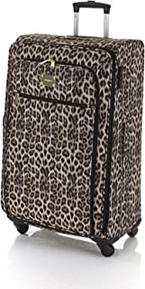 Marikai Leopard 77cm Soft Suitcase Luggage Trolley Brown Multi Large