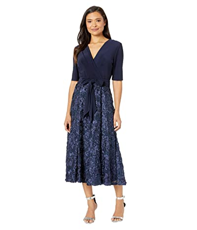Alex Evenings Tea Length Party Dress with Full Rosette Skirt, and Tie Faux Belt (Navy) Women