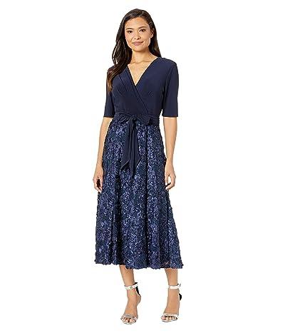 Alex Evenings Tea Length Party Dress with Full Rosette Skirt, and Tie Faux Belt (Navy) Women