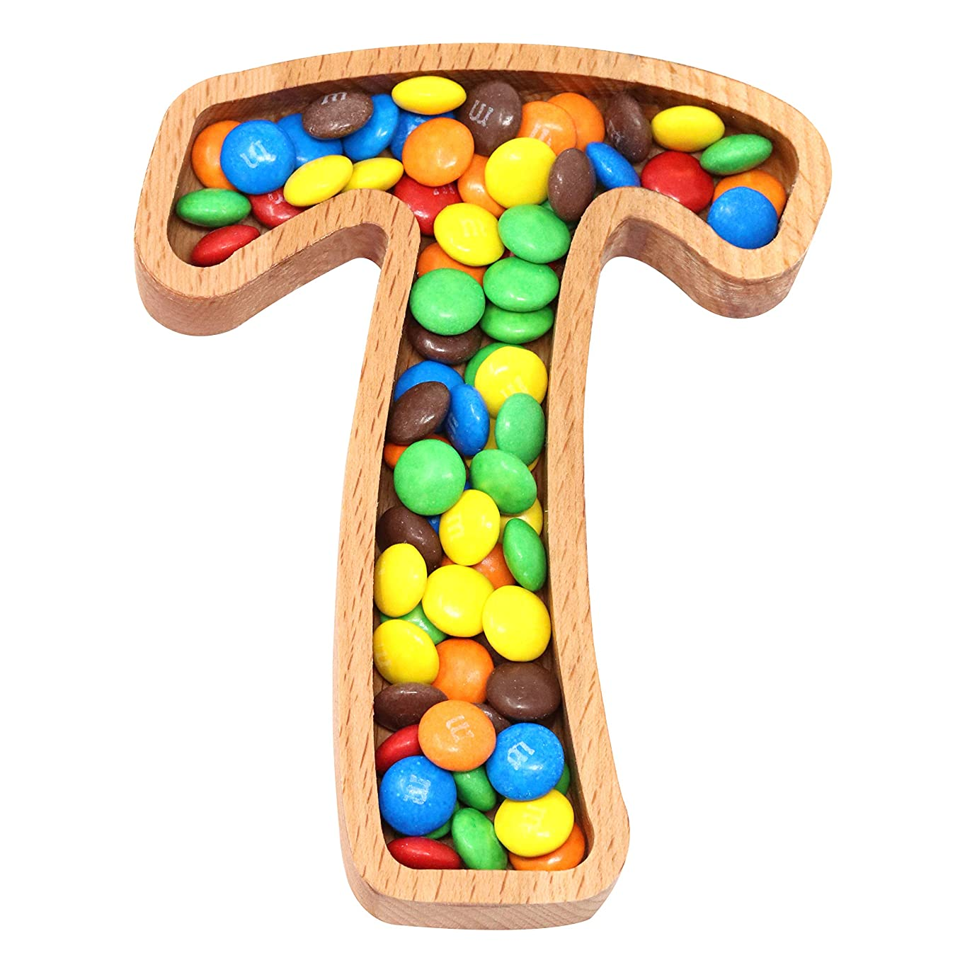 Wooden Letter T Candy Dish | Monogram Nut Bowl | Snack, Cookie, Cracker Serving Plate | Decorative Display, Home Accessory | Unique Gift Idea | for Date, Baby Shower, Birthday Party | Small Size