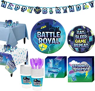 Party City Battle Royal Tableware Supplies for 16 Guests, with Table Covers, Decorations and More