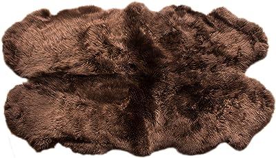 Super Area Rugs Genuine Large Sheepskin Rug 4X6 Fluffy & Soft Area Rug, Brown, Quarto