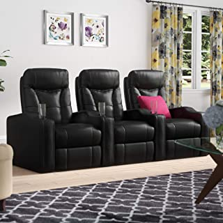 3 Seats Recliner Chair W/Built-in Cup Holders Console, Black Modular Sectional Home Theater Seating