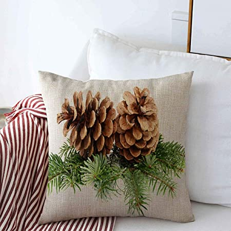 Amazon Com Dkisee Pine Branch With Pine Cone And Berry Pillow Cover Christmas Pillow Cover Pine Pillow Cover Christmas Decor Christmas Pillow Cover Cotton Linen Cover 12x24 Inch Home Kitchen