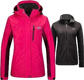 Women's Waterproof 3 in 1 Ski Jacket Warm Fleece Interchange Rain Jacket