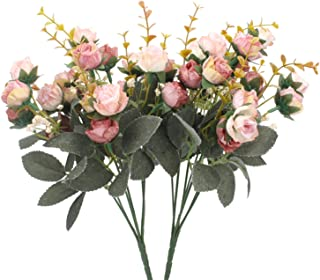 Duovlo 7 Branch 21 Heads Artificial Flowers Bouquet Mini Rose Wedding Home Office..