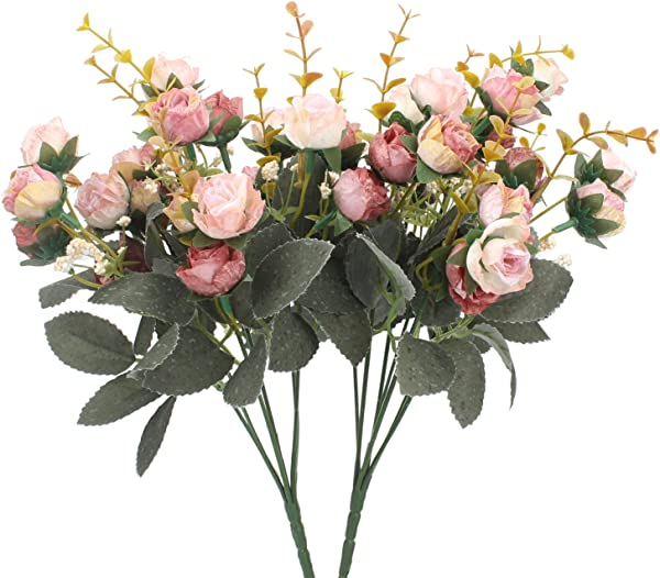 Duovlo 7 Branch 21 Heads Artificial Flowers Bouquet Mini Rose Wedding Home Office Decor Pack Of 2 2 PCS Pink