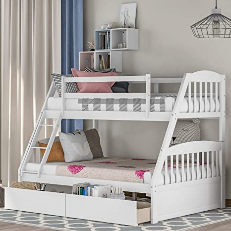 Amazon Com Solid Wood Twin Over Full Bunk Beds With Storage Drawers Bunk Beds For Kids With Ladder And Guard Rail White Kitchen Dining