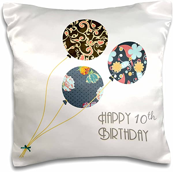 3dRose Pc 161951 1 Happy 10th Birthday Modern Stylish Floral Balloons Elegant Black Brown Blue 10 Year Old Bday Pillow Case 16 By 16