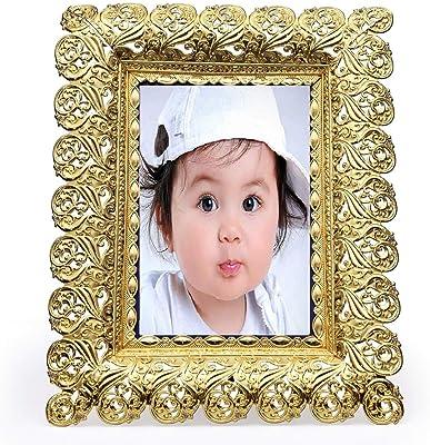 Hiki Ziki Gold Metal Photo Frame Vintage Creative Picture Desktop Frame Gift Picture Frame Decoration