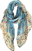 GERINLY Scarfs for Women Lightweight Floral Birds Print Shawl Head Wraps