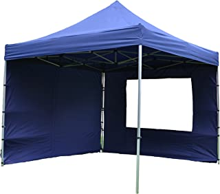 Nexos SM936150_SL01 Profi Faltpavillon Partyzelt Pavillon 3x3 m mit 4 Seitenteilen - hochwertige Ausführung - wasserdichtes Dach 270 g/m² + Tragetasche – Farbe: blau,