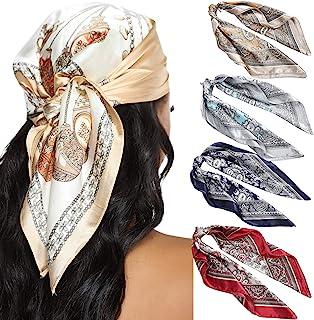 23.6 Inches Satin Head Scarves for Women 4PCS Square Silk Like Hair Scarves Silk Hair Bandanas (Cashew)