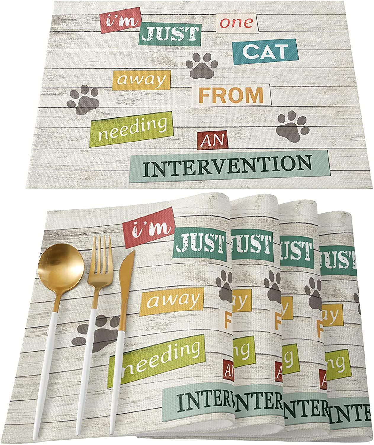 Placemats Colorado Springs Mall Set of 6 Table Department store Pet Footprints G Wood Paw Dog