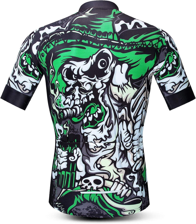 Cycling Jersey Men Short Sleeve Bike Bicycle Clothing Anti-Slip Strip Full Zipper Reflective at Night