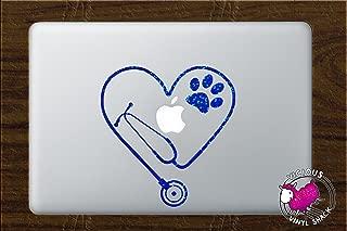 Stethoscope Heart PAW Cutout (BLUE SPARKLES) Vinyl Decal Stickers for MacBook Laptop Car Nursing Tough Strength Strong Strength Hope Inspiration Love Doctor Nurse Veterinarian Health Medicine Hospital Med School Vet Tech Dog Cat Bird Pets Adopt Shelter Animal Hospital Print