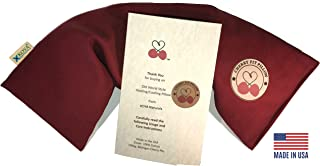 KOYA Naturals Heating Pad Microwavable – Henna Red Cherry Pit/Stone/Seed Pillow Heat Pack - for Neck, Muscle, Joint, Stomach Pain, Menstrual Cramps