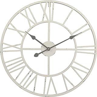Utopia Alley Roman Round Clock, Distressed Finish, Metal, Antique White
