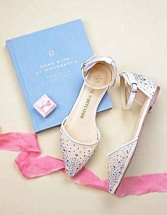"cd5364f3bfe Bridal Flat Wedding Shoes Women s Ivory Satin – Kate Whitcomb Shoes style  ""Elle"""