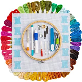 Hand Embroidery Starter Kit, 50 Premium Rainbow Color Embroidery Floss, Craft Cross Stitch Threads Tool Including Magic Pe...
